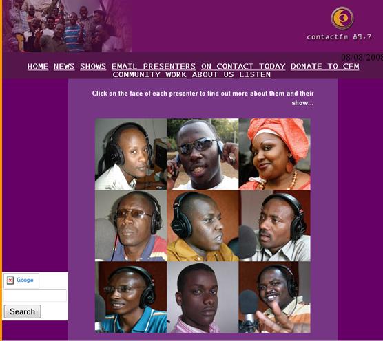le site web de Contact FM à Kigali Rwanda