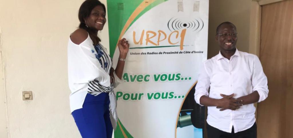 Fatim CAMARA (DG de afriquactu.radio) et BAMBA Karamoko (Président de l'URPCI) au sortir de leur rencontre. ©afriqueactu.radio/Renaud Kobia